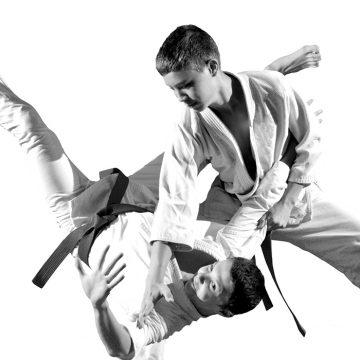 jeunes aikido pojection noir et blanc