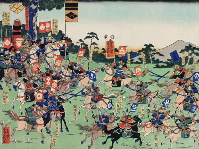 peinture bataille samouraïs