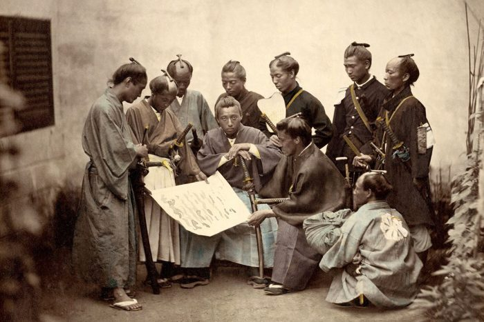 Samouraïs du clan Satsuma durant la guerre du Boshin (vers 1868 par Felice Beato)