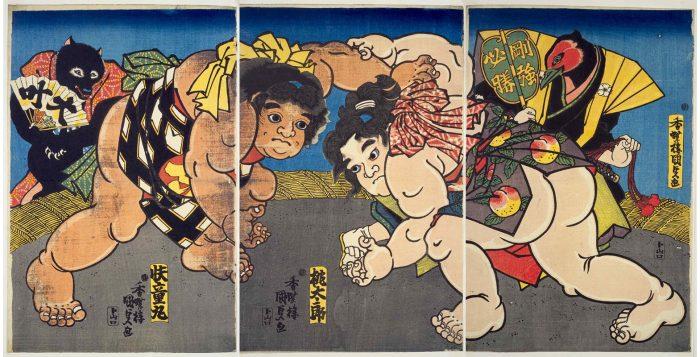 nishiki-e représentant des sumo